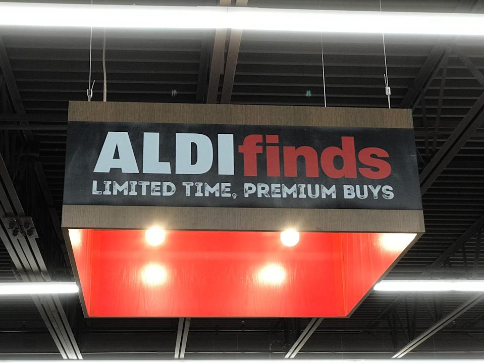"""An Aldi Finds sign reads """"Limited time, premium buys."""""""