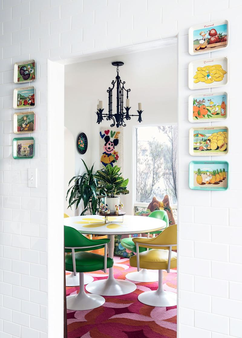 Lacey and Philip often host dinner parties and board game nights at their retro dining table.