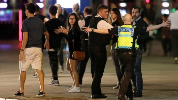 PHOTO: A police officer clears people away from the area near London Bridge after an incident in central London, June 3, 2017. (Matt Dunham/AP)