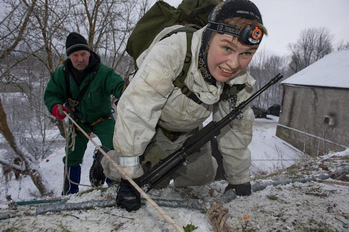 Fear of neighbouring Russia is leading many Estonians to volunteer as paramilitaries, giving up weekends for training (AFP Photo/Raigo Pajula)