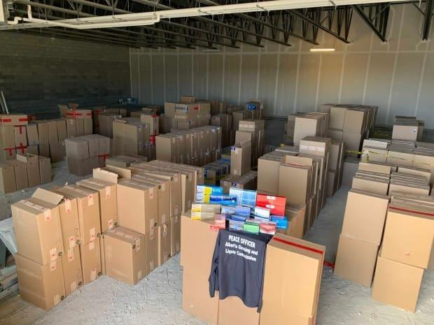 AGLC says there is approximately $4.5 million worth of contraband in this photo, taken at a southeast Calgary storage facility.  (Alberta Liquor Gaming and Cannabis - image credit)