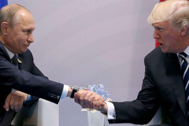 PHOTO: Russian President Vladimir Putin shakes hands with President Donald Trump during the their bilateral meeting at the G20 summit in Hamburg, Germany, July 7, 2017. (Carlos Barria/Reuters, FILE)