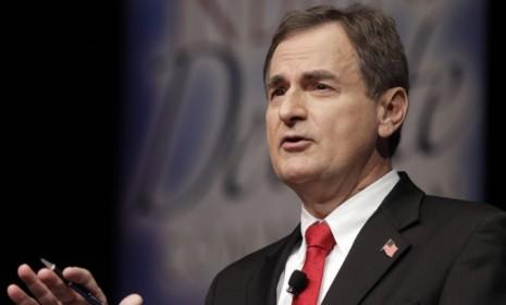 Republican Richard Mourdock, candidate for Indiana's U.S. Senate seat, participates in a debate in New Albany, Ind. on Oct. 23: Comparisons of Mourdock's comments with statements about abortion made by Missouri Republican Senate candidate Todd Akin have already come up.