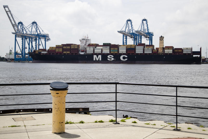 Show is the MSC Gayane container ship on the Delaware River in Philadelphia, Tuesday, June 18, 2019. U.S. authorities have seized more than $1 billion worth of cocaine from a ship at a Philadelphia port, calling it one of the largest drug busts in American history. The U.S. attorney's office in Philadelphia announced the massive bust on Twitter on Tuesday afternoon. Officials said agents seized about 16.5 tons (15 metric tons) of cocaine from a large ship at the Packer Marine Terminal. (AP Photo/Matt Rourke)
