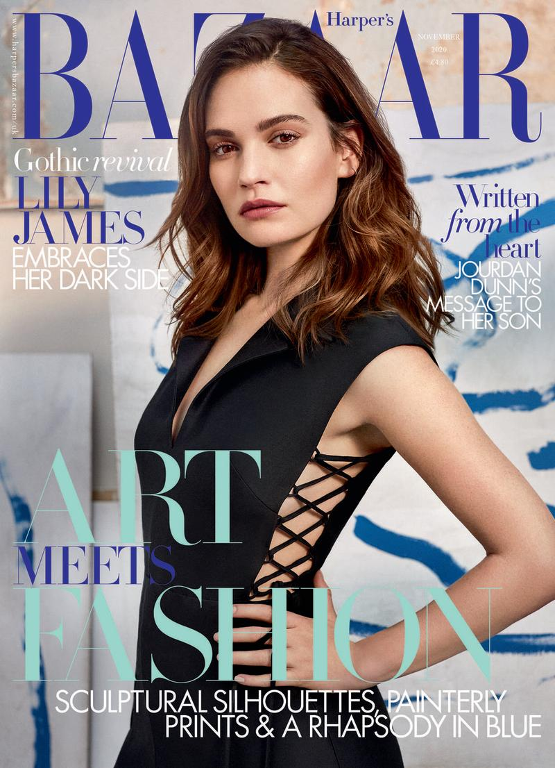 Photo credit: Lily James wearing Dior on the newsstand cover