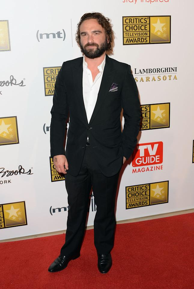 LOS ANGELES, CA - JUNE 10: Actor Johnny Galecki arrives at Broadcast Television Journalists Association's third annual Critics' Choice Television Awards at The Beverly Hilton Hotel on June 10, 2013 in Beverly Hills, California.  (Photo by Jason Merritt/Getty Ima ges)