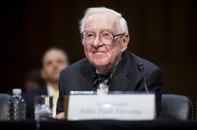 Retired Supreme Court Justice John Paul Stevens said he opposes Brett Kavanaugh's nomination. (Bill Clark via Getty Images)