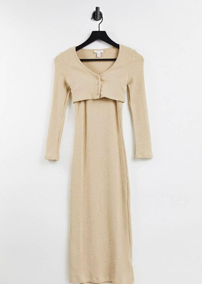 <p>Whether you wear it to go apple picking or to take a scenic walk with friends, this <span>Topshop Petite Fluffy Rib Cardigan Midi Dress</span> ($53) will stylishly transition into fall, thanks to the extra layer. </p>