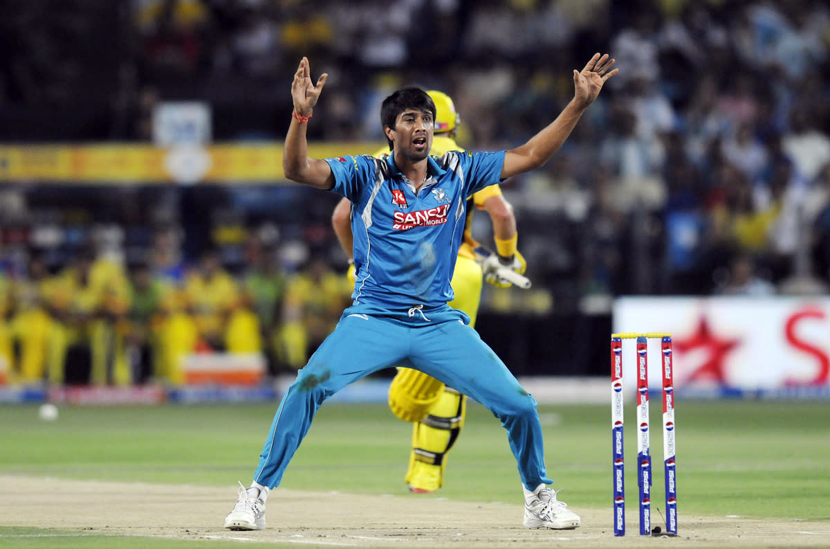 Rahul Sharma of Pune Warriors appeals unsuccessfully for the wicket of Wriddhiman Saha of Chennai Super Kings during match 42 of the Pepsi Indian Premier League ( IPL) 2013  between The Pune Warriors India and the Chennai Superkings held at the Subrata Roy Sahara Stadium, Pune on the 30th April  2013.(BCCI)