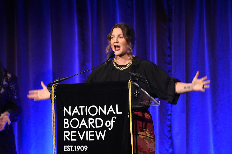 Drew Barrymore speaks onstage during The National Board of Review Awards on January 08, 2020. (Photo by Kevin Mazur/Getty Images for National Board of Review)