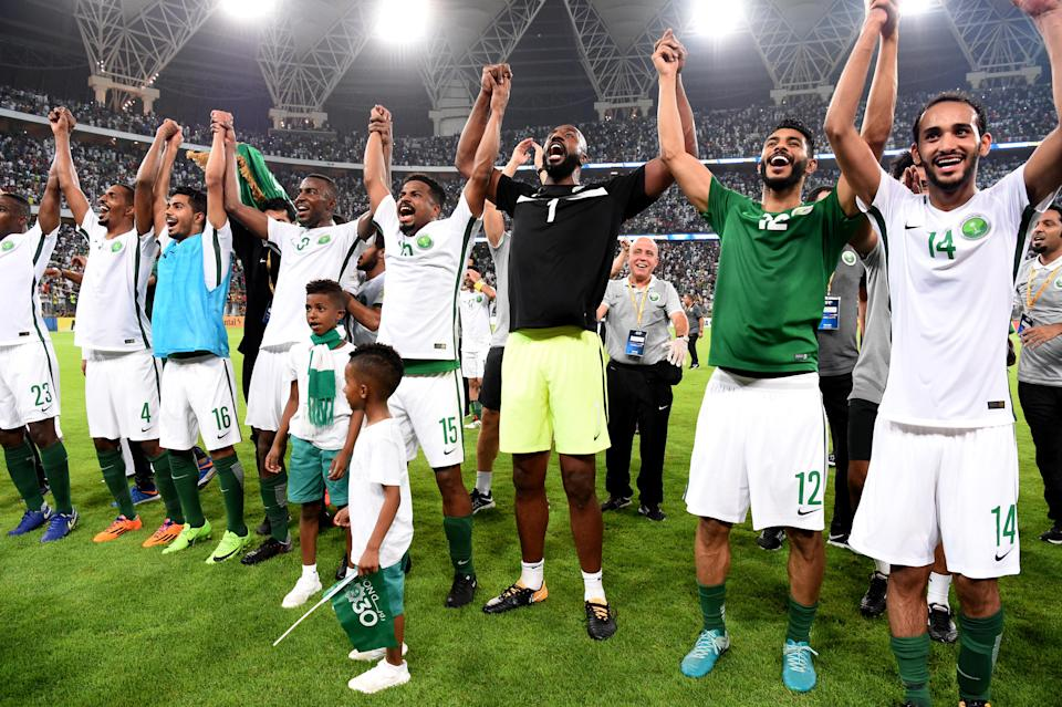 Saudi Arabia players celebrate qualifying for the 2018 World Cup. (Getty)