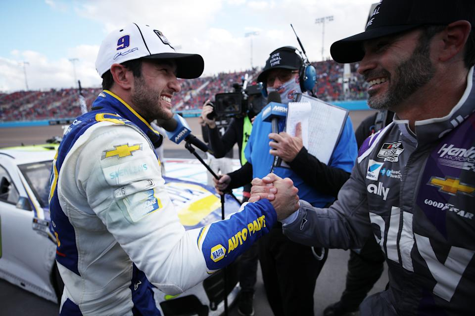<em>Chase Elliott is congratulated by Jimmie Johnson after his victory at Phoenix (Chris Graythen/Getty Images).</em>