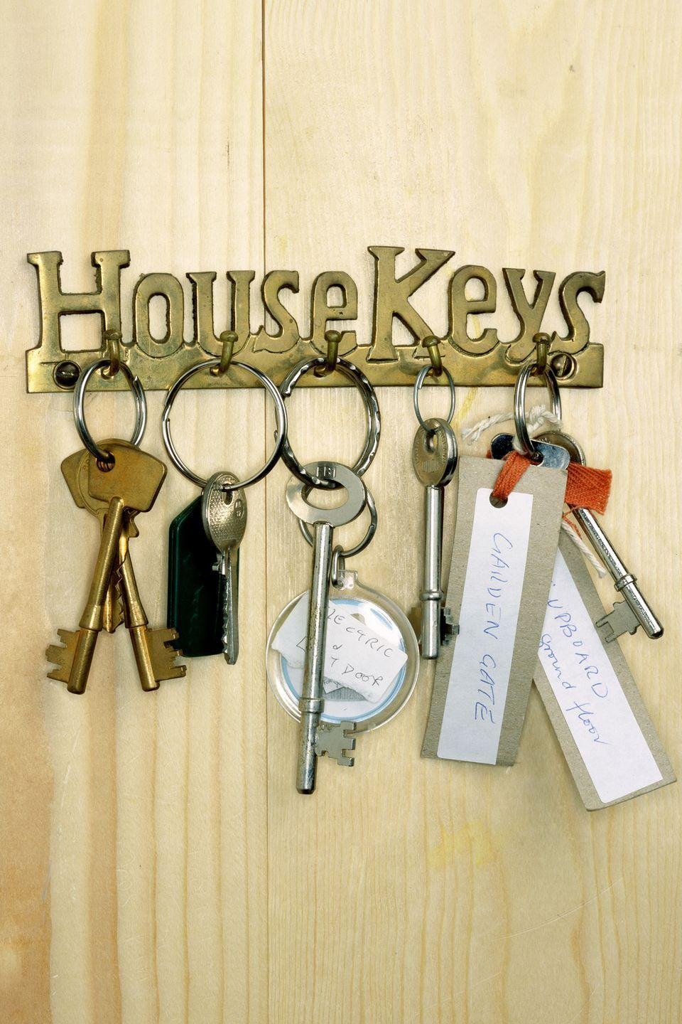 """<p>Make decorative keys that clearly stand out from one another. Example: you could use stars-and-stripes for the <a href=""""https://www.womansday.com/home/organizing-cleaning/tips/a4055/a-quicker-way-to-clean-house-83178/"""" rel=""""nofollow noopener"""" target=""""_blank"""" data-ylk=""""slk:house"""" class=""""link rapid-noclick-resp"""">house</a>, flowers for the garden shed, and a psychedelic pattern for your office at work.</p><p><strong><a class=""""link rapid-noclick-resp"""" href=""""https://www.amazon.com/Uniclife-Plastic-Window-Assorted-Colors/dp/B01G8L4T74/ref=pd_day0_21_4/138-2633406-5587159?_encoding=UTF8&pd_rd_i=B01G8L4T74&pd_rd_r=57375198-f012-49cf-aa75-cb7ead6cd6e4&pd_rd_w=gHA3X&pd_rd_wg=vOspm&pf_rd_p=ecf748b5-e796-4a0d-9a46-406a973ba8da&pf_rd_r=EM09NMW7BDJ4660QV1F5&psc=1&refRID=EM09NMW7BDJ4660QV1F5&tag=syn-yahoo-20&ascsubtag=%5Bartid%7C10070.g.3310%5Bsrc%7Cyahoo-us"""" rel=""""nofollow noopener"""" target=""""_blank"""" data-ylk=""""slk:SHOP KEY LABELS"""">SHOP KEY LABELS</a></strong></p>"""