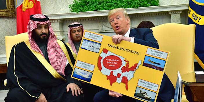 WASHINGTON, DC - MARCH 20: President Donald Trump (R) holds up a chart of military hardware sales as he meets with Crown Prince Mohammed bin Salman of the Kingdom of Saudi Arabia in the Oval Office at the White House on March 20, 2018 in Washington, D.C.