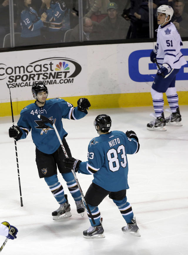 San Jose Sharks' Marc-Edouard Vlasic (44) celebrates his goal with teammate Matt Nieto (83) during the first period of an NHL hockey game against the San Jose Sharks on Tuesday, March 11, 2014, in San Jose, Calif. (AP Photo/Marcio Jose Sanchez)