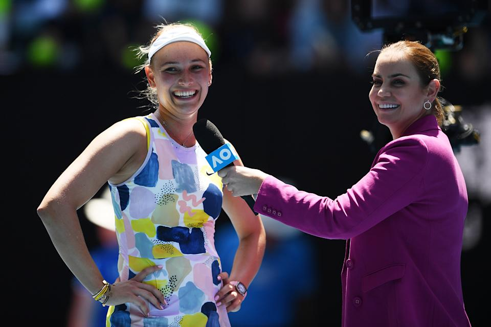 Jelena Dokic (pictured right) shares a laugh with Donna Vekic (pictured left) during an interview at the 2020 Australian Open.