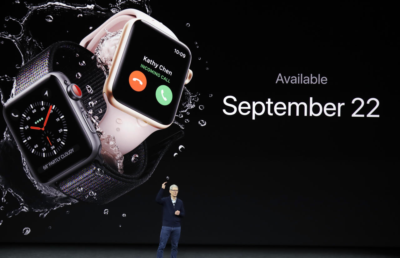 <p> FILE - In this Tuesday, Sept. 12, 2017, file photo, Apple CEO Tim Cook talks about the new Apple Watch Series 3 at the Steve Jobs Theater on the new Apple campus in Cupertino, Calif. Apple is confirming that its new Series 3 Apple Watch has problems connecting to a cellular network. The problems arise when the watch joins unauthenticated Wi-Fi networks without connectivity. The company says it is investigating a fix for the problem. (AP Photo/Marcio Jose Sanchez, File) </p>
