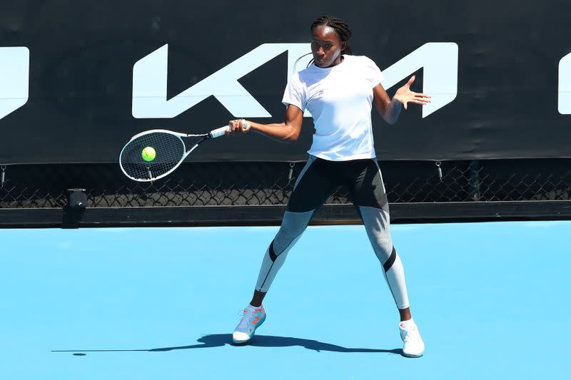 Tennis player Coco Gauff trains in advance of the Australian Open in Melbourne
