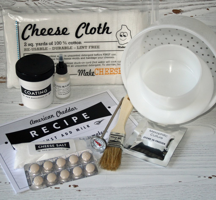 "<p></p><p>The kit, perfect for cheddar cheese enthusiasts, can make eight batches and comes with all the tools and recipe guidance necessary to wow and chow about. For each batch you get 400 to 500 grams of cheese.<strong><br /><a rel=""nofollow"" href=""https://www.makecheese.ca/products/cheddar-cheese-kit-makes-8-lbs"">SHOP IT: Make Cheese, $59.95</a></strong> </p><p></p>"