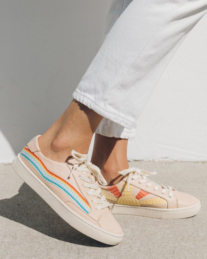 The Rainbow Wave sneakers in soft pink. Image via Soludos.