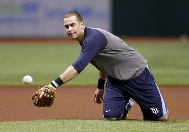 Tampa Bay Rays third baseman Evan Longoria fields a ground ball during practice for Monday's Game 3 of baseball's American League division series against the Boston Red Sox, Sunday, Oct. 6, 2013, in St. Petersburg, Fla. (AP Photo/Chris O'Meara)