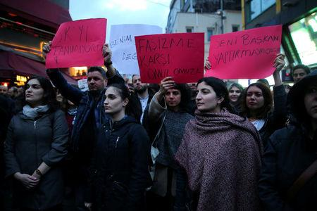 Anti-government protesters take part in a demonstration at the Besiktas district in Istanbul