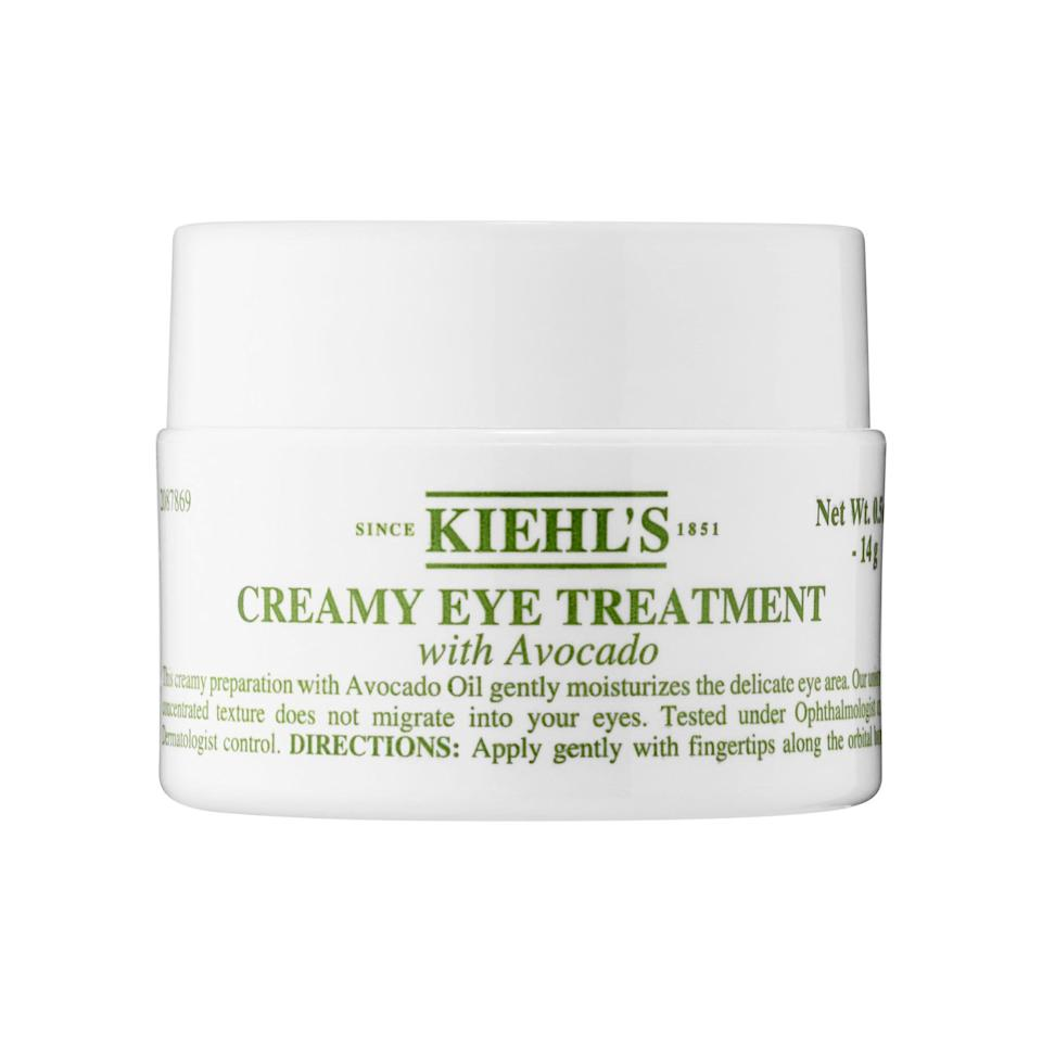 """<p><strong>Kiehl's Since 1851</strong></p><p>sephora.com</p><p><strong>$32.00</strong></p><p><a href=""""https://go.redirectingat.com?id=74968X1596630&url=https%3A%2F%2Fwww.sephora.com%2Fproduct%2Fcreamy-eye-treatment-with-avocado-P422000&sref=https%3A%2F%2Fwww.thepioneerwoman.com%2Fbeauty%2Fskin-makeup-nails%2Fg37620997%2Fbest-eye-cream-for-wrinkles%2F"""" rel=""""nofollow noopener"""" target=""""_blank"""" data-ylk=""""slk:Shop Now"""" class=""""link rapid-noclick-resp"""">Shop Now</a></p><p>A light application of this option works well under makeup during the day, but this ultra-moisturizing formula truly shines when used as an eye mask overnight. And because it's fragrance-free, it's great for sensitive skin and eyes.</p>"""
