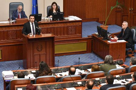 Macedonian Prime Minister Zoran Zaev addresses the deputies of the parliament during a vote to pass constitutional changes to allow the Balkan country to change its name to the Republic of North Macedonia, in Skopje, Macedonia, January 11, 2019.REUTERS/ Tomislav Georgiev