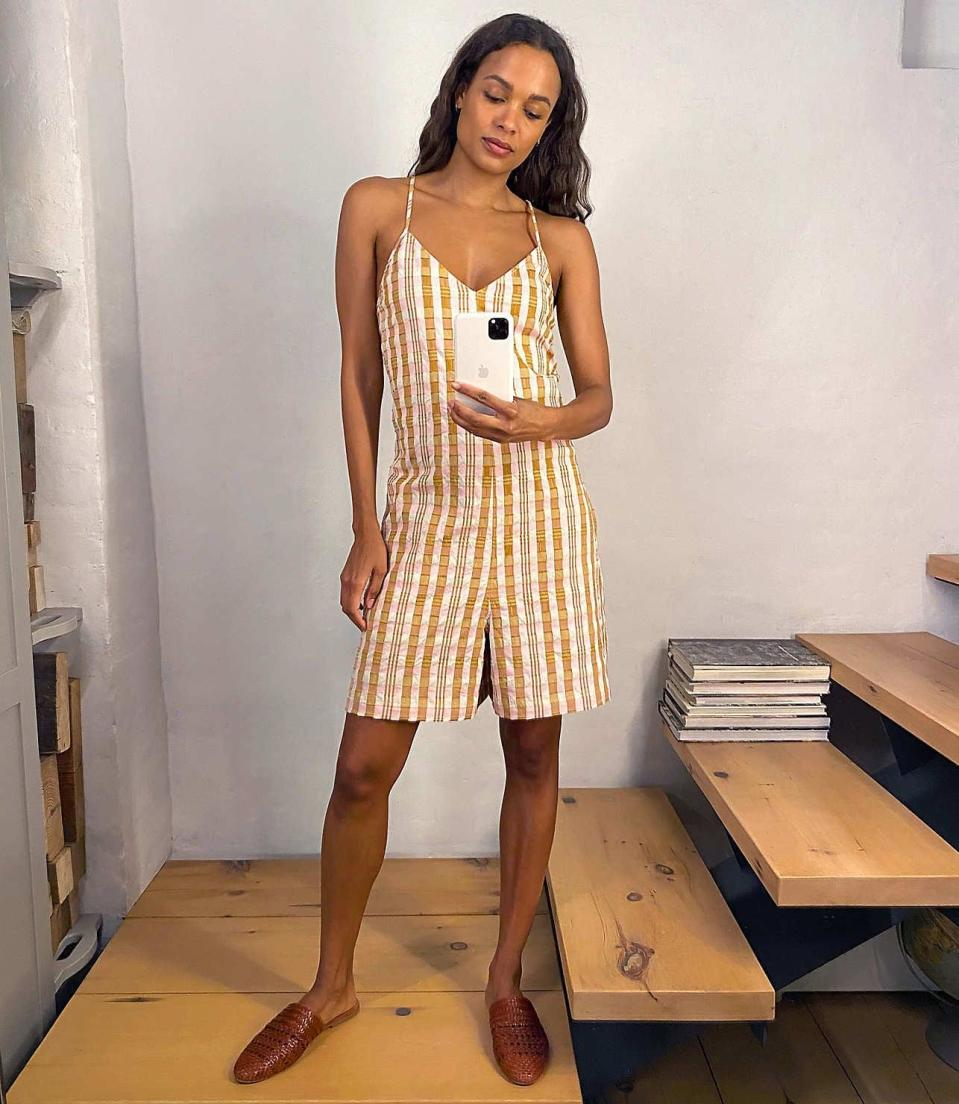 """<p>If you're looking for a romper with longer length shorts, try this <a href=""""https://www.popsugar.com/buy/Lou-amp-Grey-Sunkissed-Plaid-Strappy-Romper-579196?p_name=Lou%20%26amp%3B%20Grey%20Sunkissed%20Plaid%20Strappy%20Romper&retailer=louandgrey.com&pid=579196&price=65&evar1=fab%3Aus&evar9=47524904&evar98=https%3A%2F%2Fwww.popsugar.com%2Ffashion%2Fphoto-gallery%2F47524904%2Fimage%2F47525081%2FLou-Grey-Sunkissed-Plaid-Strappy-Romper&list1=shopping%2Cjumpsuits%2Cfashion%20shopping%2Crompers%2Ccomfortable%20clothes&prop13=mobile&pdata=1"""" class=""""link rapid-noclick-resp"""" rel=""""nofollow noopener"""" target=""""_blank"""" data-ylk=""""slk:Lou &amp; Grey Sunkissed Plaid Strappy Romper"""">Lou &amp; Grey Sunkissed Plaid Strappy Romper</a> ($65, originally $90).</p>"""