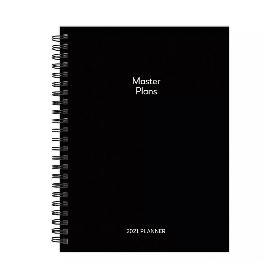 "With white text and a sleek black background, this minimalist planner has everything you need for a neat and organized year ahead, without unnecessary bells and whistles. With the simplicity and a title like that, Capricorns, this one's obviously for you. $16, Target. <a href=""https://www.target.com/p/2021-wire-planner-with-stickers-6-34-x-8-34-master-plans-the-time-factory/-/A-80626309#lnk=sametab"" rel=""nofollow noopener"" target=""_blank"" data-ylk=""slk:Get it now!"" class=""link rapid-noclick-resp"">Get it now!</a>"