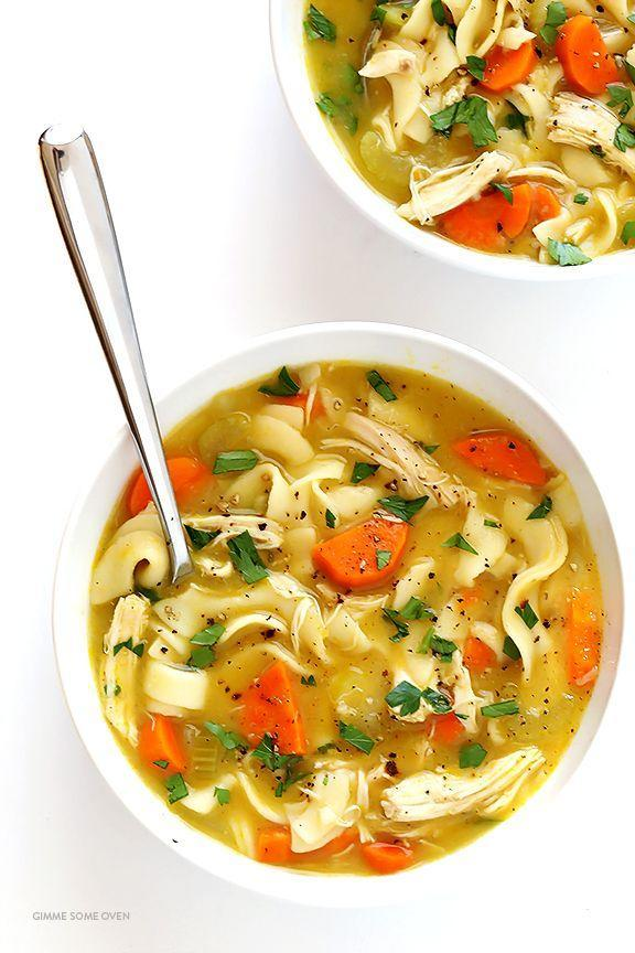 "<p>Upgrade chicken noodle soup with a hint of rosemary to create the ultimate comfort food.</p><p><strong>Get the recipe at <a href=""http://www.gimmesomeoven.com/rosemary-chicken-noodle-soup-recipe/"" rel=""nofollow noopener"" target=""_blank"" data-ylk=""slk:Gimme Some Oven"" class=""link rapid-noclick-resp"">Gimme Some Oven</a>.</strong></p>"