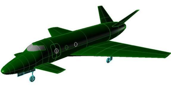 This graphic of the Vinci space plane Concept 2 highlights the suborbital spacecraft concept vehicle's split vertical tail and canard.
