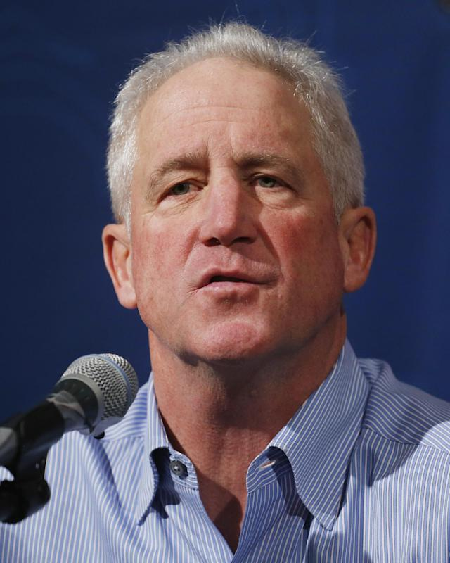 Denver Broncos head coach John Fox speaks during an end of the season news conference at the NFL football team's headquarters in Englewood, Colo., on Tuesday, Feb. 4, 2014. (AP Photo/Ed Andrieski)