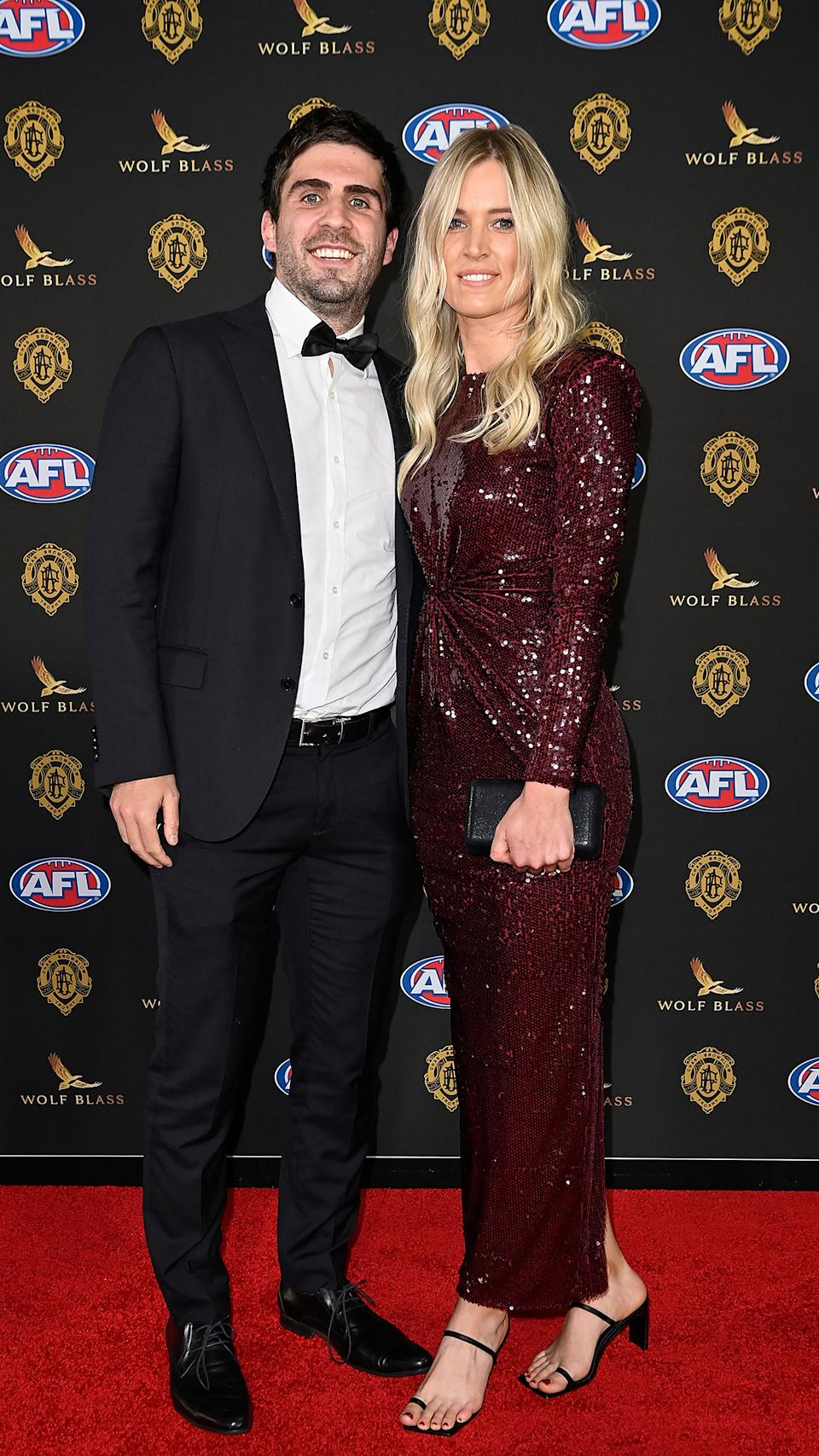 Andrew Gaff and Emma Van Woerden at the Brownlow Medal 2021
