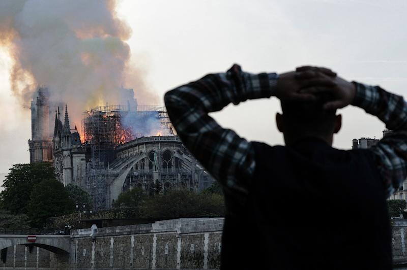 The Notre-Dame cathedral was engulfed in flames in central Paris on April 15 (AFP Photo/Geoffroy VAN DER HASSELT)