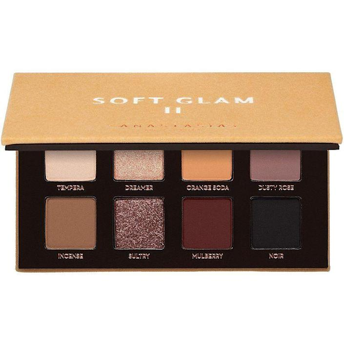 "<p><strong>Anastasia Beverly Hills</strong></p><p>ulta.com</p><p><strong>$29.00</strong></p><p><a href=""https://go.redirectingat.com?id=74968X1596630&url=https%3A%2F%2Fwww.ulta.com%2Fsoft-glam-ii-mini-eyeshadow-palette%3FproductId%3Dpimprod2019661&sref=https%3A%2F%2Fwww.prevention.com%2Fbeauty%2Fg34648443%2Fbest-beauty-gifts%2F"" rel=""nofollow noopener"" target=""_blank"" data-ylk=""slk:Shop Now"" class=""link rapid-noclick-resp"">Shop Now</a></p>"