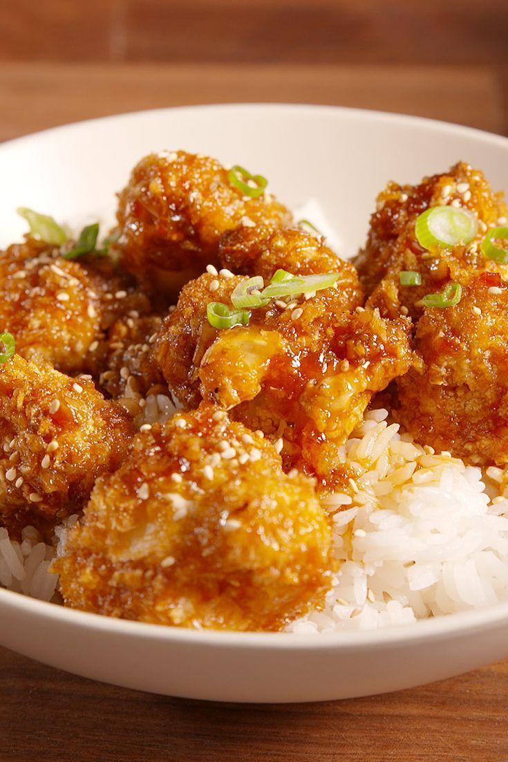 """<p>No chicken was harmed in the making of this.</p><p>Get the recipe from <a href=""""https://www.delish.com/cooking/recipe-ideas/recipes/a50010/general-tso-cauliflower/"""" rel=""""nofollow noopener"""" target=""""_blank"""" data-ylk=""""slk:Delish"""" class=""""link rapid-noclick-resp"""">Delish</a>.</p>"""