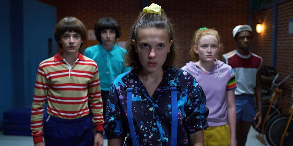 STRANGER THINGS, from left: Noah Schnapp, Finn Wolfhard, Millie Bobby Brown, Sadie Sink, Caleb McLaughin in 'Chapter Three: The Case of the Missing Lifeguard', (Season 3, Episode 303, aired July 4, 2019), ph: Netflix / Courtesy Everett Collection