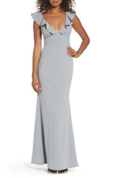 "This mermaid gown is perfect for those late fall weddings that tend to be a bit colder. Get it at <a href=""http://shop.nordstrom.com/s/lulus-perfect-opportunity-ruffle-mermaid-gown/4695381?origin=category-personalizedsort&fashioncolor=BLUSH"" target=""_blank"">Nordstrom for $98</a>."