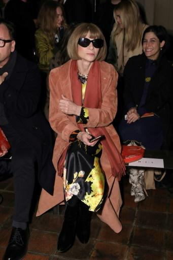 Anna Wintour at the front row of Rodarte fashion show during New York Fashion Week at St. Bartholomew's Church on February 11, 2020 in New York City