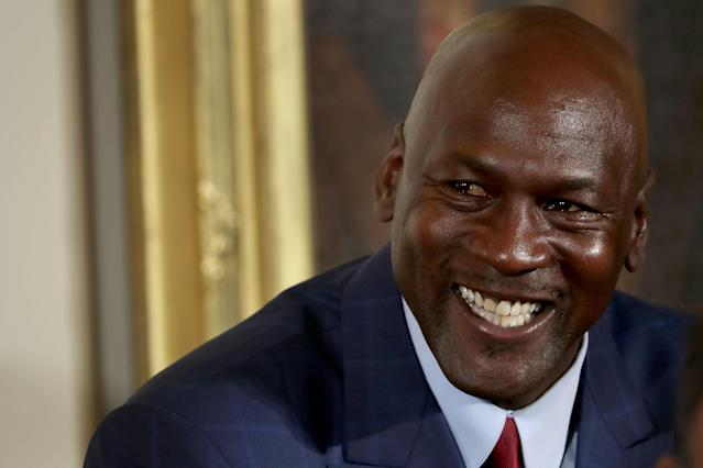 Michael Jordan answered a question about James Harden and Russell Westbrook with a boast about his ring count. (Getty)