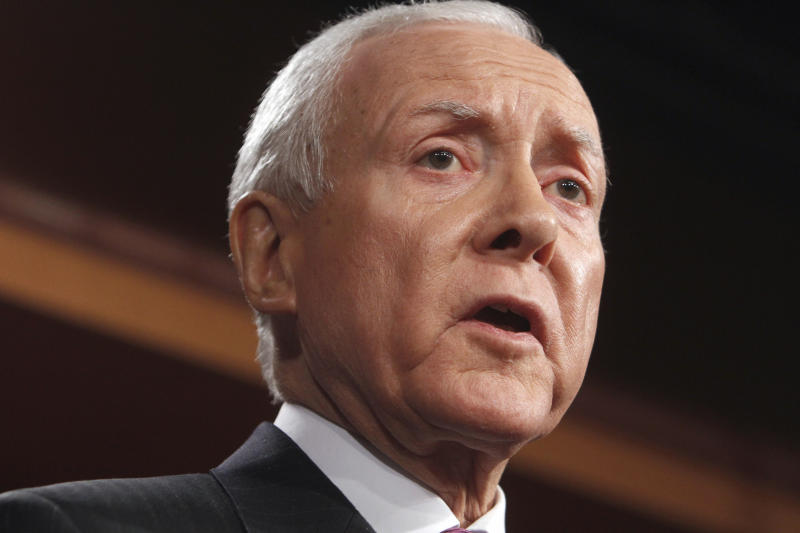 FILE - In this Feb. 2, 2011 file photo, Sen. Orrin Hatch, R-Utah, speaks on Capitol Hill in Washington. In a rebuke to the Obama administration, government auditors are calling for the cancellation of an $8 billion Medicare program that congressional Republicans have criticized as a political ploy. (AP Photo/Jacquelyn Martin, File)