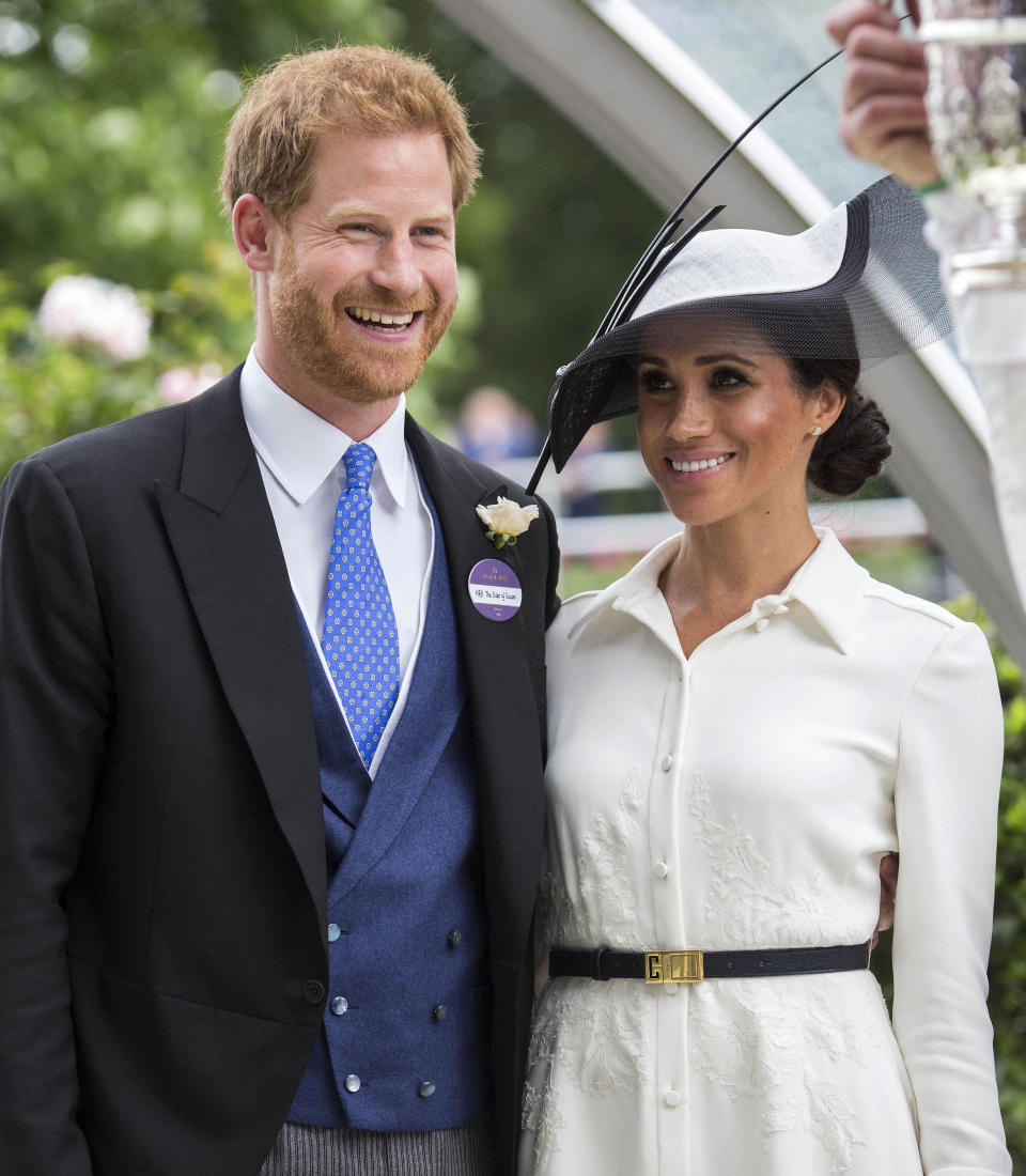 """January 20th 2020 - Buckingham Palace has announced that Prince Harry and Duchess Meghan will no longer use """"royal highness"""" titles and will not receive public money for their royal duties. Additionally, as part of the terms of surrendering their royal responsibilities, Harry and Meghan will repay the $3.1 million cost of taxpayers' money that was spent renovating Frogmore Cottage - their home near Windsor Castle. - January 9th 2020 - Prince Harry The Duke of Sussex and Duchess Meghan of Sussex intend to step back their duties and responsibilities as senior members of the British Royal Family. - File Photo by: zz/KGC-107/STAR MAX/IPx 2018 6/19/18 Prince Harry The Duke of Sussex and Meghan The Duchess of Sussex at Royal Ascot Day One at Ascot Racecourse. (Berkshire, England, UK)"""