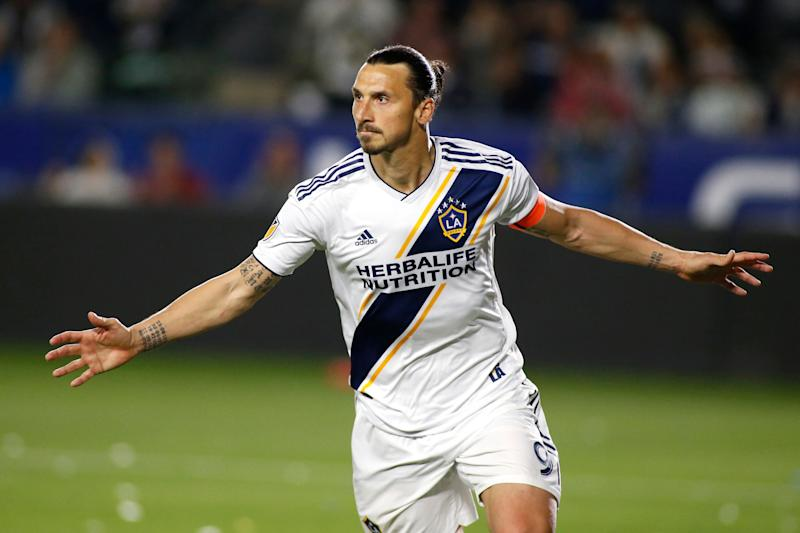 CARSON, CALIFORNIA - MARCH 31: Zlatan Ibrahimovic #9 of Los Angeles Galaxy celebrates his second goal against the Portland Timbers during the second half at Dignity Health Sports Park on March 31, 2019 in Carson, California. (Photo by Katharine Lotze/Getty Images)