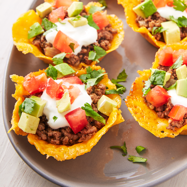 """<p><a href=""""https://www.delish.com/uk/cooking/recipes/a30291829/keto-taco-casserole-recipe/"""" rel=""""nofollow noopener"""" target=""""_blank"""" data-ylk=""""slk:Taco"""" class=""""link rapid-noclick-resp"""">Taco</a> shells made out of cheese is the ultimate Keto hack. These cups are so easy to make!</p><p>Get the <a href=""""https://www.delish.com/uk/cooking/recipes/a30712335/keto-taco-cups-recipe/"""" rel=""""nofollow noopener"""" target=""""_blank"""" data-ylk=""""slk:Keto Taco Cups"""" class=""""link rapid-noclick-resp"""">Keto Taco Cups</a> recipe. </p>"""