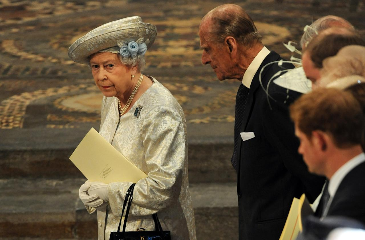 LONDON, UNITED KINGDOM - JUNE 4: Queen Elizabeth II and the Duke of Edinburgh with other members of the Royal family leave Westminster Abbey following the service to celebrate the 60th anniversary of the Coronation of the Queen at Westminster Abbey, on June 4, 2013 in London, England. (Photo by Anthony Devlin - WPA Pool /Getty Images)