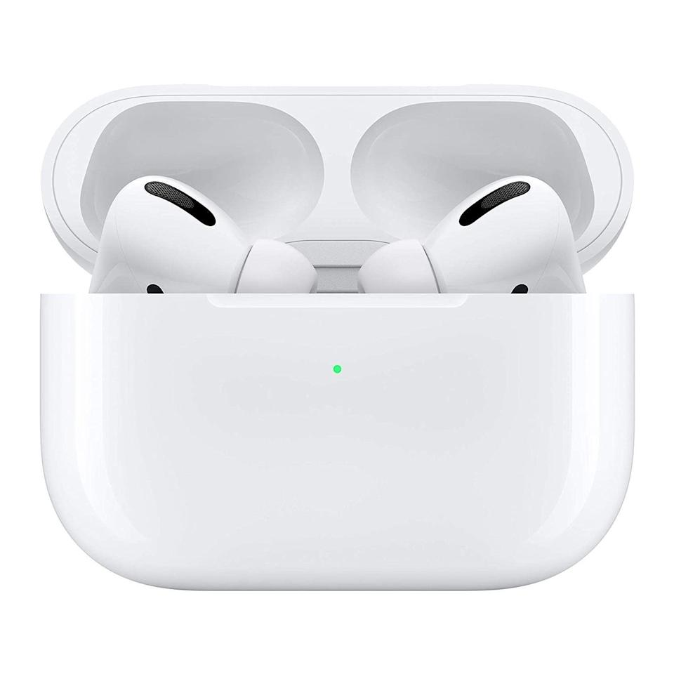 """<p>Amazon</p><p><strong>$197.00</strong></p><p><a href=""""https://www.amazon.com/Apple-MWP22AM-A-AirPods-Pro/dp/B07ZPC9QD4?tag=syn-yahoo-20&ascsubtag=%5Bartid%7C2141.g.36665348%5Bsrc%7Cyahoo-us"""" rel=""""nofollow noopener"""" target=""""_blank"""" data-ylk=""""slk:Shop Now"""" class=""""link rapid-noclick-resp"""">Shop Now</a></p><p><em>IPX4   4.5 hours</em></p><p>No matter where you're working out, noise-cancellation is likely to come in handy—and these impressive, cult-favorite earbuds are up to the task. Rama swears by the AirPods Pro, which are more sweat-resistant than their slimmer cousins. """"Being able to <strong>switch songs easily by just tapping an earbud</strong> has made me feel so cool,"""" she says, and she also appreciates that your iPhone can determine which silicone tips fit best in your ears.</p>"""