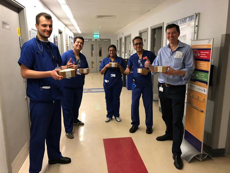 Undated handout photo issued by Meals for the NHS of NHS workers at Whittington Hospital with meals provided by a campaign which has raised £250,000 in just seven days, after being thought up by a few friends from London. PA Photo. Issue date: Sunday March 29, 2020. Meals for the NHS was just an idea last Sunday evening but has since provided 4,000 meals to hospitals with tens of thousands more expected soon. See PA story HEALTH Coronavirus Meals. Photo credit should read: Meals for the NHS/PA Wire NOTE TO EDITORS: This handout photo may only be used in for editorial reporting purposes for the contemporaneous illustration of events, things or the people in the image or facts mentioned in the caption. Reuse of the picture may require further permission from the copyright holder.