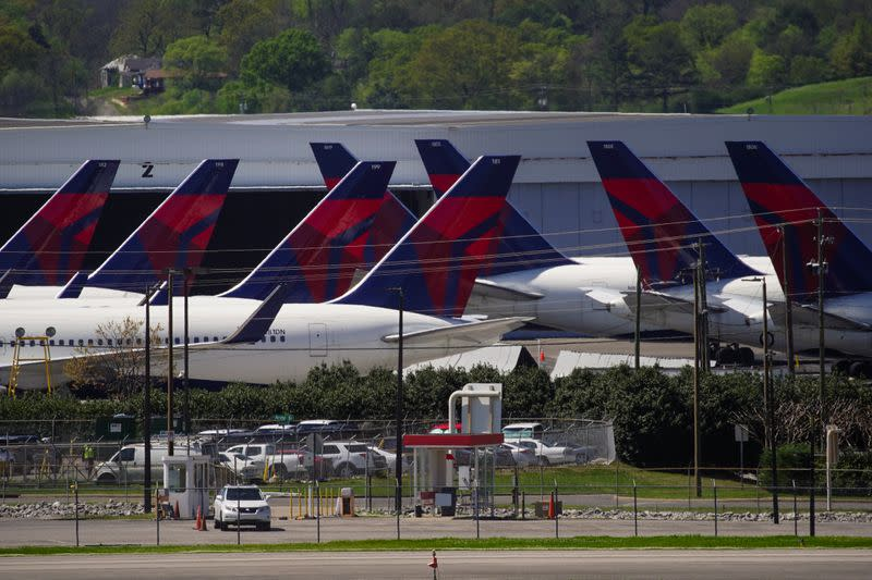 FILE PHOTO: Delta Air Lines passenger planes parked in Birmingham