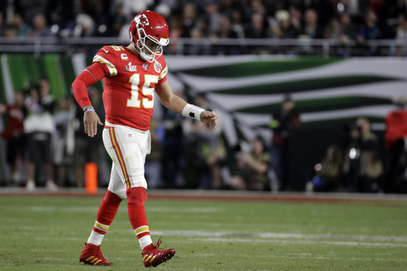 Patrick Mahomes' first playoff interception arrived at a terrible time. (AP Photo/Patrick Semansky)